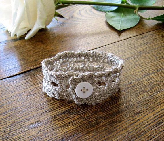The Rustic Romantic Lace Wrist Cuff in Natural Linen by awkward, $19.50