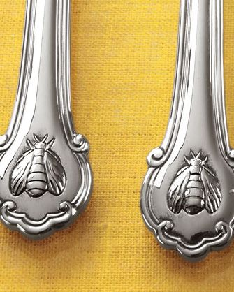 Wallace flatware My pattern, love the French bee! Looks beautiful with my Johnson Brothers Windsor Fruit pattern dinnerware