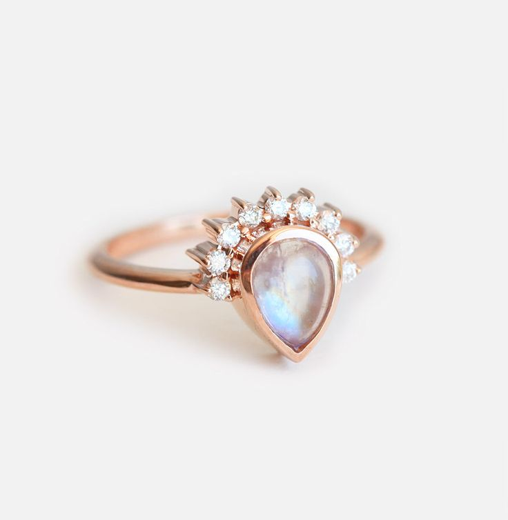 Moonstone Engagement Ring, Gold Moonstone Ring, Engagement Moonstone ring, Birthstone Ring, Pear Moonstone Ring, Moonstone Cabochon Ring by MinimalVS on Etsy https://www.etsy.com/listing/464643139/moonstone-engagement-ring-gold-moonstone