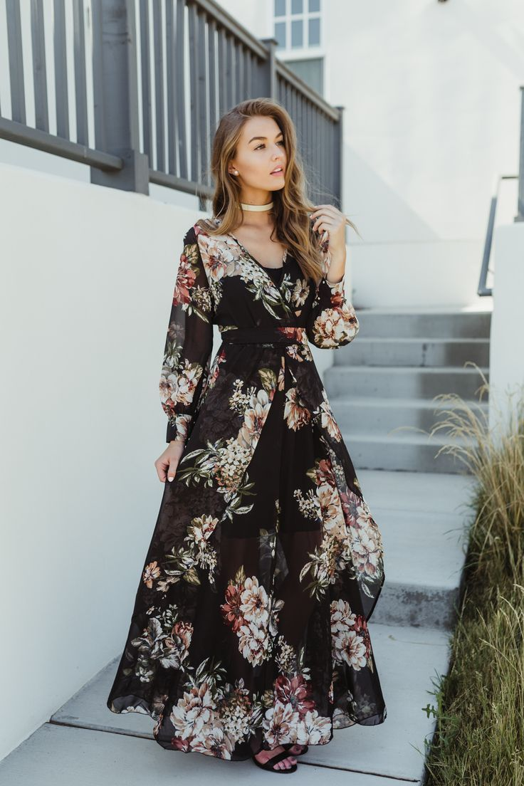 d75c80ac6 Romance Chiffon Wrap Maxi Dress , Maxi Dresses, photoshoot dresses, floral  wrap maxi dress, spring outfit ideas