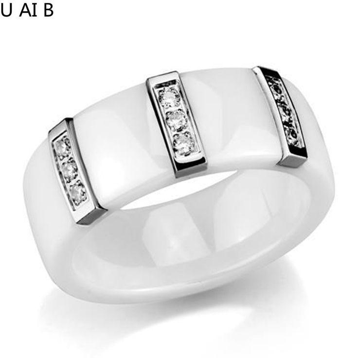 Женские Белые Керамические 8 мм Кристалл Летие Обручальное Кольцо женщины кольца 2016 новое прибытие женщин лето ювелирные изделия купить на AliExpress