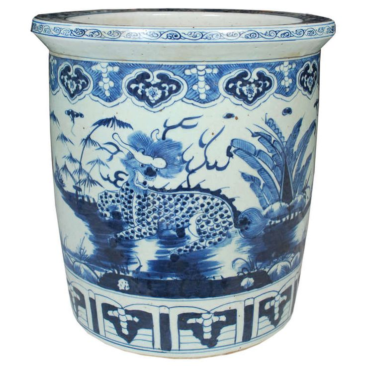 Chinese Blue and White Scroll Jar with Lions | From a unique collection of antique and modern ceramics at http://www.1stdibs.com/furniture/asian-art-furniture/ceramics/