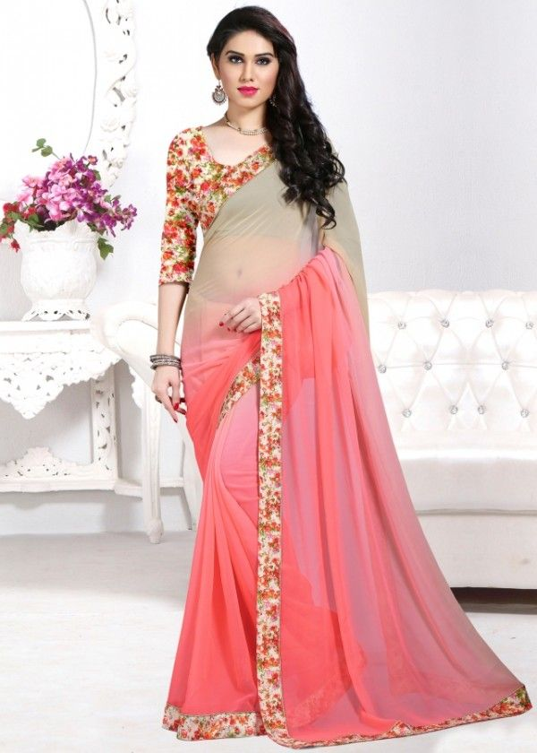 Beige and pink printed saree