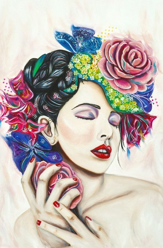 Women with pink and purple flowers on canvas by SharelCilliers