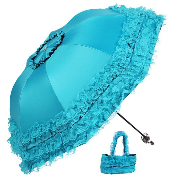 4 Colori di Alta Qualità Donne Sole La Pioggia Ombrello Anti-Uv Impermeabile Ombrellone Pieghevole Ombrello Bella Principessa Del Merletto Ombrello Parasole