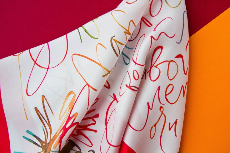 Calligraphy bright spring scarf / style accessory