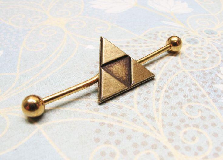 Bronze Triangle Ear Barbell, industrial, inspired by Legend of Zelda Triforce