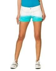 Terranovastyle.com - Pantaloncino donna in cotone elasticizzato bicolore, effetto sfumato. Modello 5 tasche, chiusura con zip e bottone, rivetti e bottone color argento
