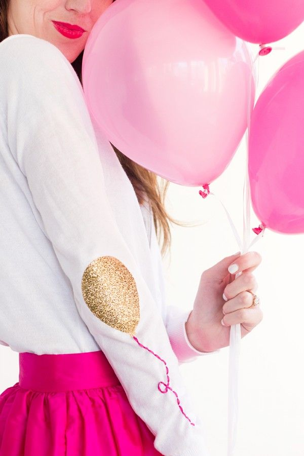 Gold glitter balloon elbow patch! Such a fun DIY addition to jazz up a party outfit.