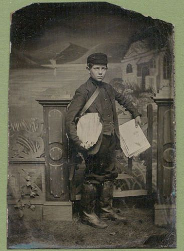 RARE TINTYPE NEWSPAPER DELIVERY BOY BAG OF PAPERS in Collectibles, Photographic Images, Vintage & Antique (Pre-1940), Tintypes | eBay