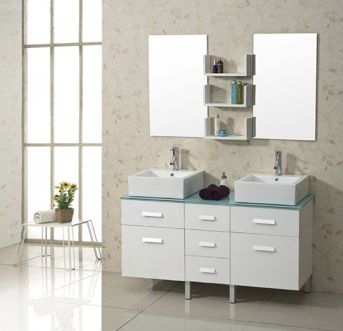 Special Offers - Virtu USA Maybell 57 Glass Double Bathroom Vanity Cabinet Set in White For Sale - In stock & Free Shipping. You can save more money! Check It (January 14 2017 at 05:38AM) >> http://bathvanitiesusa.net/virtu-usa-maybell-57-glass-double-bathroom-vanity-cabinet-set-in-white-for-sale/