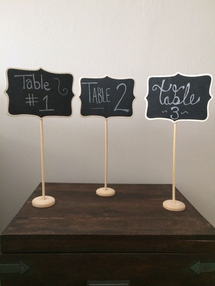 5 Large Chalkboard Table Stands - Shabby Chic Wedding Decor. Chalkboard signs-by HandStampology by HandStampOlogy on Etsy https://www.etsy.com/listing/181385494/5-large-chalkboard-table-stands-shabby