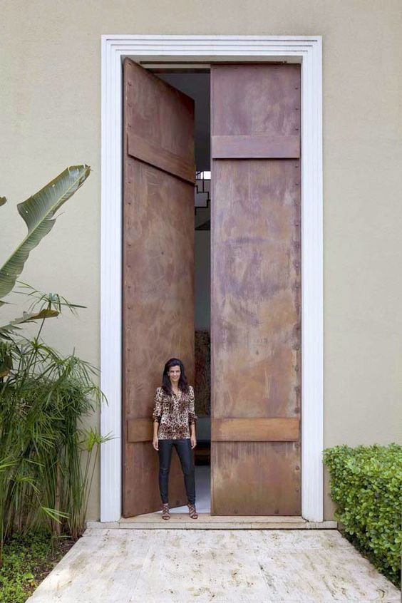 extra tall copper metal doors