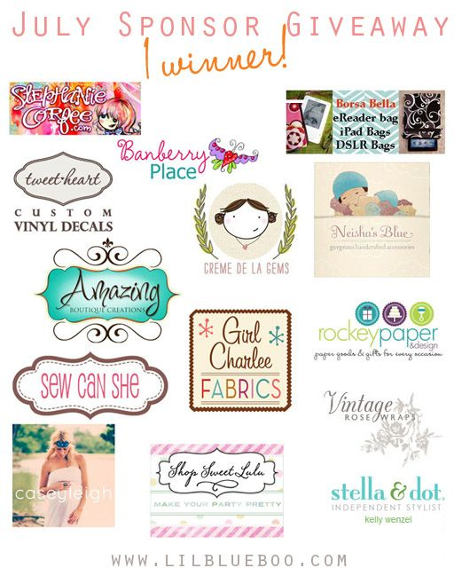 I want to win the July Sponsor Giveaway at lilblueboo.comJuly Giveaways, Sewing Crafts, Sponsor Giveaways, Patterns Sewing, July Sponsor, Lilblueboo Com, Amazing Giveaways, Lilblueboocom, Wanna Win