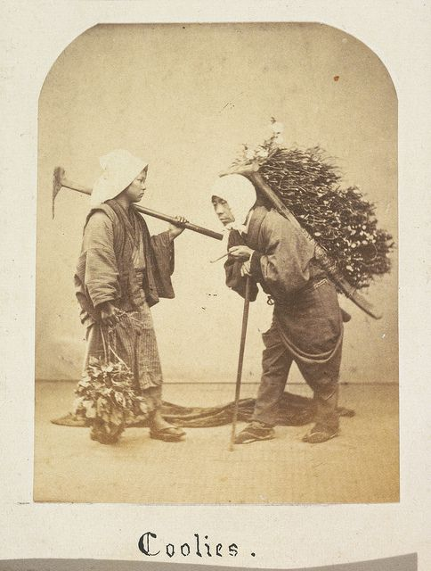 "Japanese labourers, identified as ""coolies"", photographed between 1867 and 1869.: Imperial Japan, Japan Labour, Japanese Labourers, Japan Vintage Photos, Vintage Laboureur Par Felicity, Japanvintag Photos, Japanese History, 1800S Japan, Photos Shared"