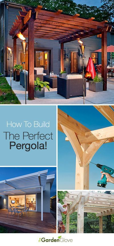 Here's a great entry from contestant @Gina Tucci! A wooden #pergola can really change the look of your yard. Add tiki torches and some great outdoor furniture to create a great relaxing space! Have YOU entered your board for the My Dream Backyard sweepstakes? | Repin: How To Build The Perfect Pergola! • Great Ideas and Tutorials! #PinMyDreamBackyard