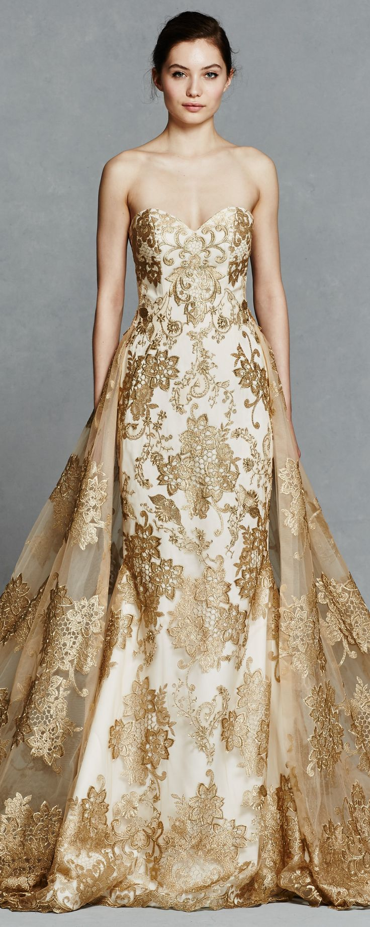 Gold Wedding Dress by Kelly Faetanini
