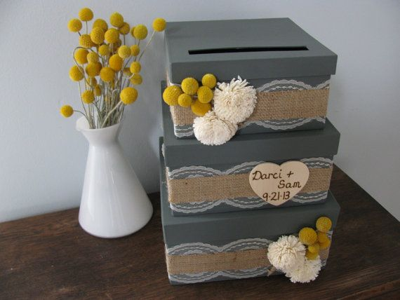 Rustic Victorian Wedding Card Box 3 tiered Charcoal Gray Burlap and Lace Yellow Billy Button Wood Sola Flowers Personalized Tag on Etsy, $85.00