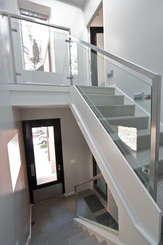 Love these staircases, steel and glass