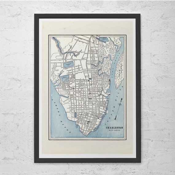 CHARLESTON SC MAP - Vintage Map of Charleston - Antique Map Print, Historical Wall Art, Living Room Decor, South Carolina Map