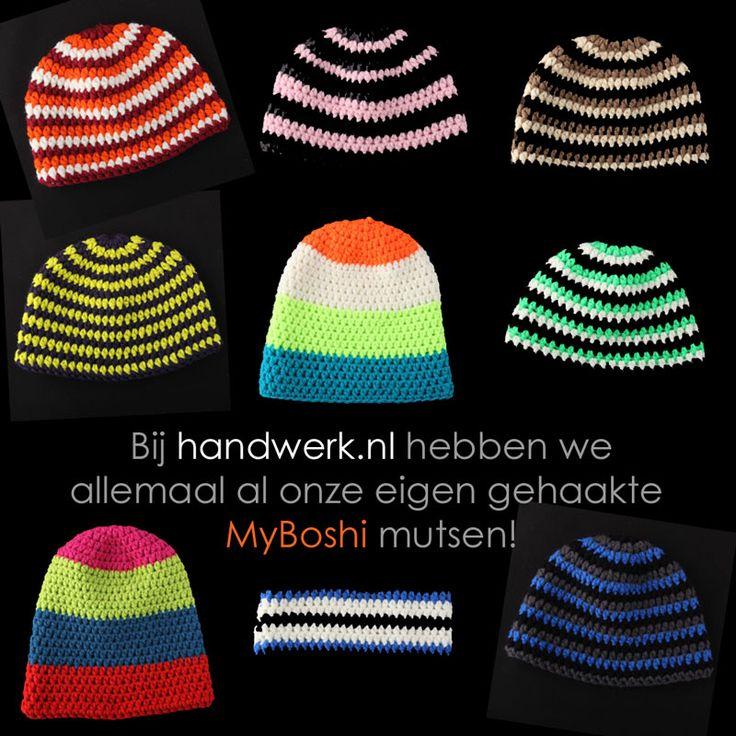 Het MyBoshi virus verovert Nederland. Adriëlle heeft alvast onze MyBoshi mutsen gehaakt! Nu hebben wij al allemaal onze persoonlijke en unieke zelf gemaakte muts in onze favoriete kleuren! http://www.handwerk.nl/haken/myboshi.html