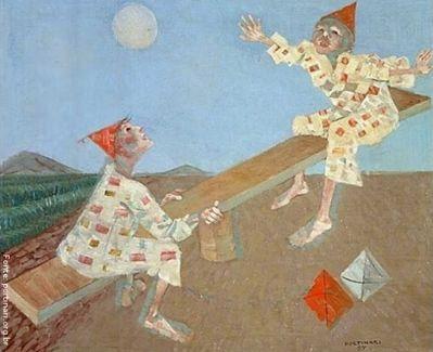 Candido Torquato Portinari (Brodowski, 29 de dezembro de 1903 — Rio de Janeiro, 6 de fevereiro de 1962). Portinari pintou quase cinco mil obras, de pequenos esboços a gigantescos murais. Foi o pintor brasileiro a alcançar maior projeção internacional. O quadro ‹ Palhacinhos na gangorra›, foi pintado em 1957, com 54 centímetros de altura e 65 centímetros de largura. Tinta a óleo sobre madeira compensada. <br/> Palavras-chave: Cândido Portinari, palhacinhos, gangorra, artista ...