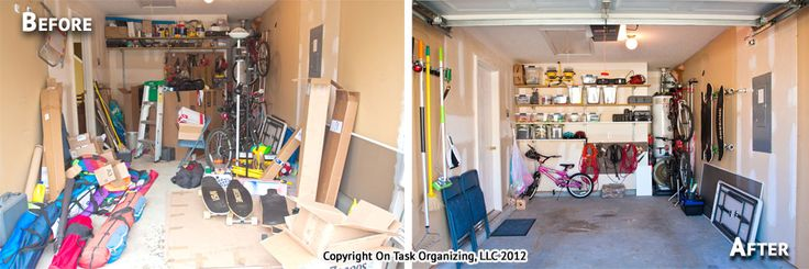 A 1 car garage, before  after organization by On Task Organizing