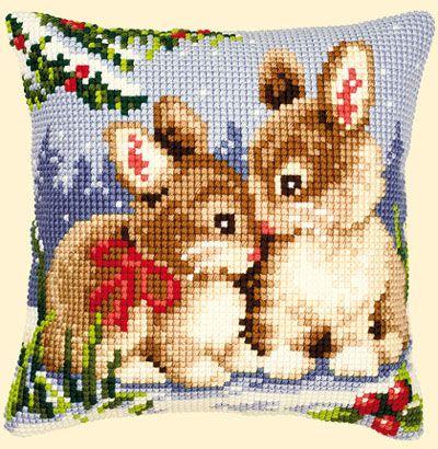 almohada -conejos navideños