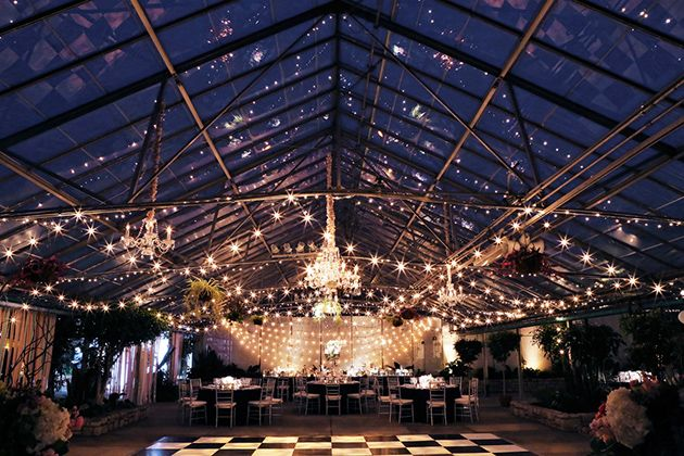 Reception at Fairmount Park Horticulture Center. One Couple's Glam Winter Wedding in Philadelphia, Brides Magazine (Photo by  Peter Van Beever)