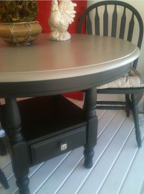 Round Kitchen Table And Chairs Painted With Chalk Paint® Decorative Paint  In Graphite And French