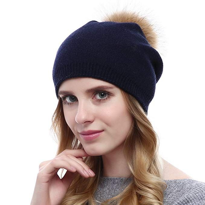a54dd86ee241c Winter Hats for Women Wool Warm Knitted Beaver Rabbit Beanie with ...