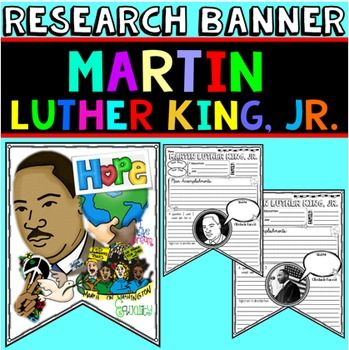 """Martin Luther King, Jr.: Class Banner - Hang in January for his birthday and into February for Black History Month.Recognize MLK Day with this fun """"Martin Luther King, Jr."""" class banner. It would be perfect as a research center activity to celebrate his birthday."""