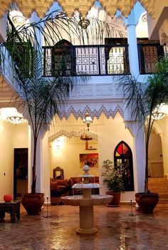 Enjoy a lazy evening stretched on a comfortable sofa and listening to a murmuring fountain on a quiet patio of the Riad Hannah in Marrakech...