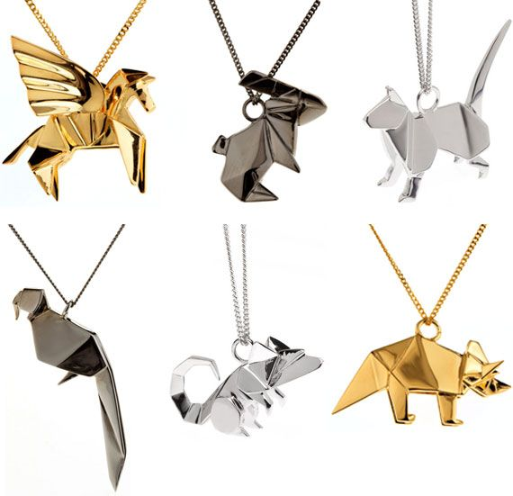 origami jewellery - find these and more at www.origamijewellery.com  Possibly done using fold forming techniques? Possibly cast? 3D printing? Maybe just factory produced? I'd love to give it a go somehow!