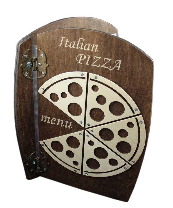 dřevěný jídelní lístek pizza s gravírováním loga