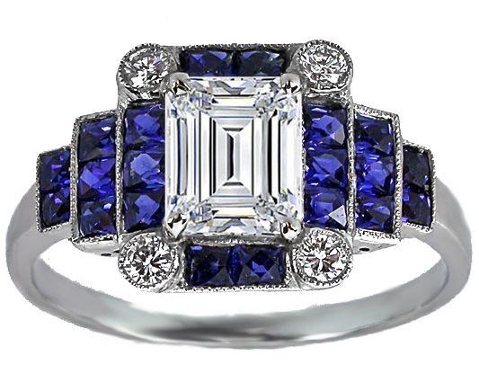 Shiny Pretty Things | Emerald Cut Diamond Art Deco Step Up Engagement Ring - ES1121EC