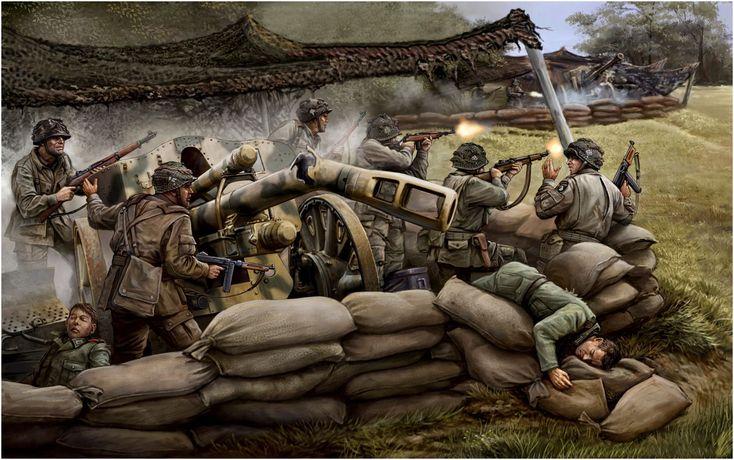 Flames of War - Compañia de fusileros de la famosa 'Easy Company', 506. Regimiento de paracaidistas, 101st División Aerotransportada destruyen una bateria de obuses de 10,5cm leFH 18/40 en Brécourt que batian la playa de Utah.