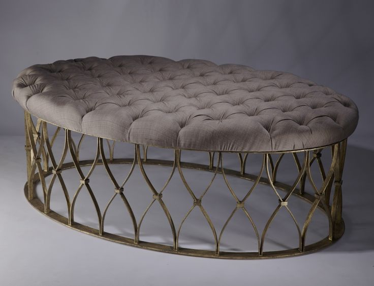 wrought iron oval 'natalia' ottoman in distressed gold leaf finish with natural…