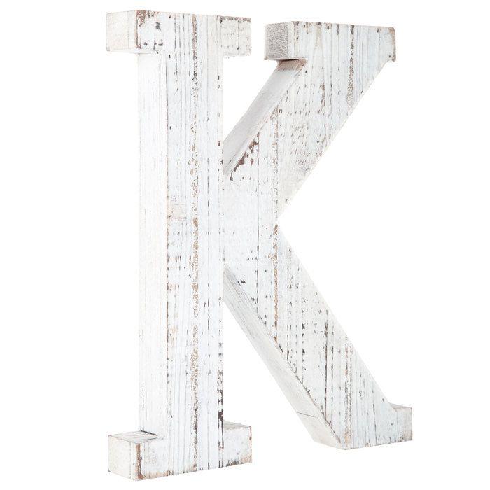 Whitewashed Wood Letter Wall Decor K Wood Letter Wall Decor Alphabet Wall Decor Letter Wall Decor