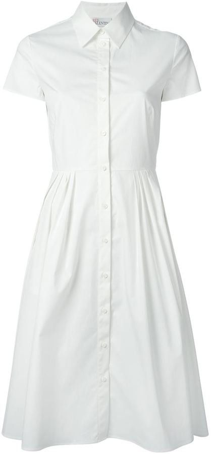 Pin for Later: Your Summer Wardrobe Isn't Complete Without a Little White Dress Red Valentino Flared Shirt Dress Red Valentino Flared Shirt Dress (£414)