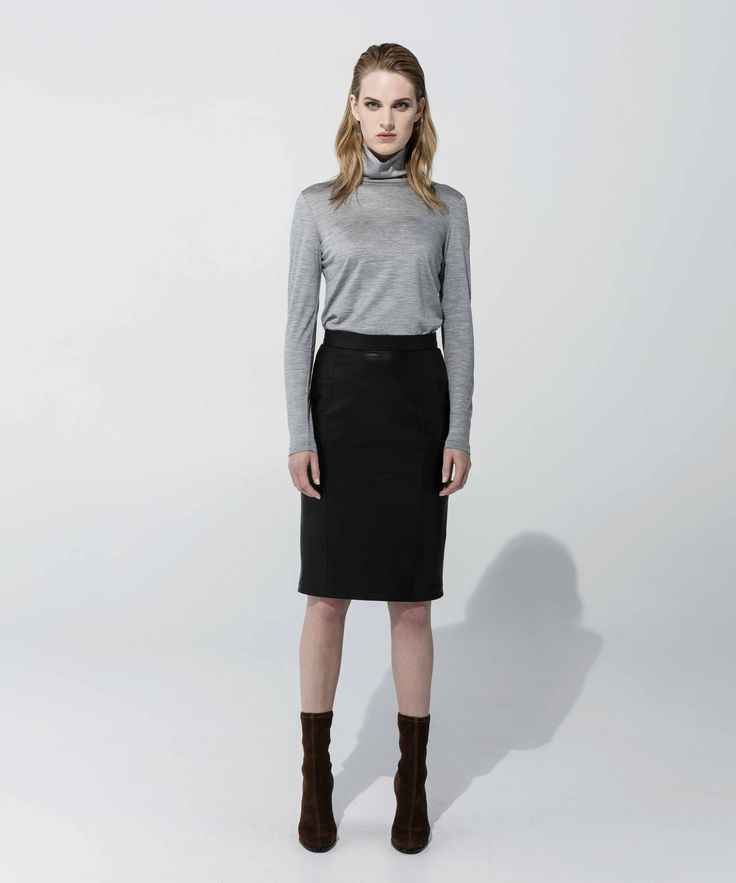 Wool Poloneck - Grey Marle, Leatherette Skirt - Black