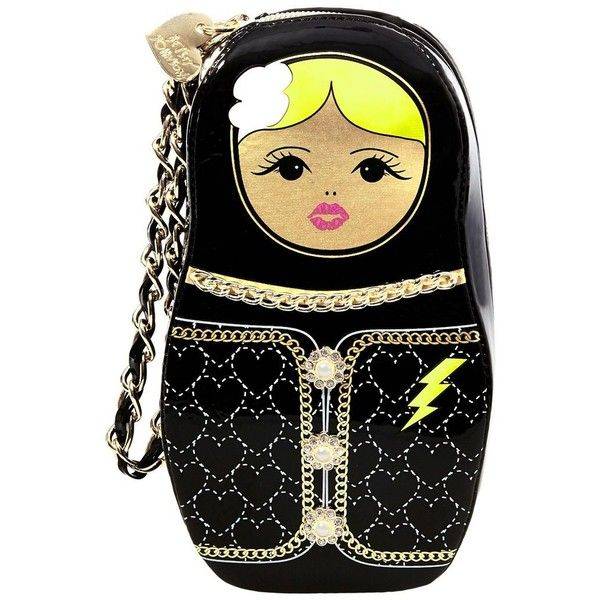 Betsey Johnson Kitsch Russian Doll Wristlet (£44) ❤ liked on Polyvore featuring bags, handbags, clutches, black, betsey johnson handbags, zipper purse, heart handbag, wristlet purse and betsey johnson wristlet