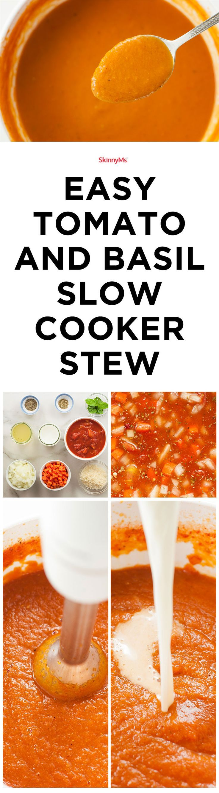 This is what the slow cooker was invented for! | Easy Tomato and Basil Slow Cooker Stew | slow cooker recipe | easy soup recipes