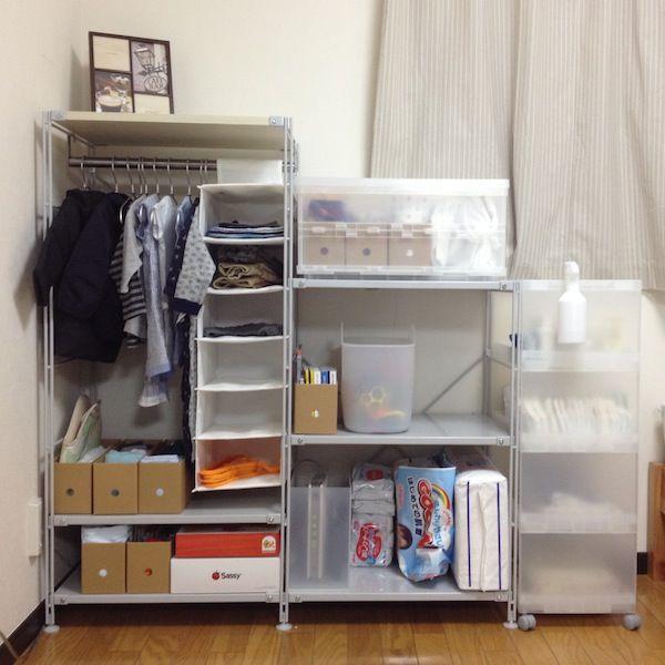 無印良品のユニットシェルフで ベビー専用収納棚を作りました 1981 楽天ブログ こども部屋 収納 ユニットシェルフ 収納