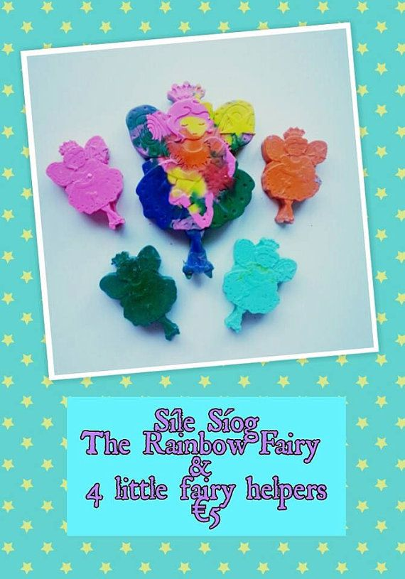 Síle Síog (Síog is pronounced shee-oge and is the Irish word for fairy!) is the Rainbow Fairy Princess and she and 4 of her fairy helpers come as a set for just €5 She is made up of several colours and the helpers are solid in one colour each. Like all Funky Crayons these are non-toxic.  http://www.marketdirect.ie/rainbow-fairy-crayons