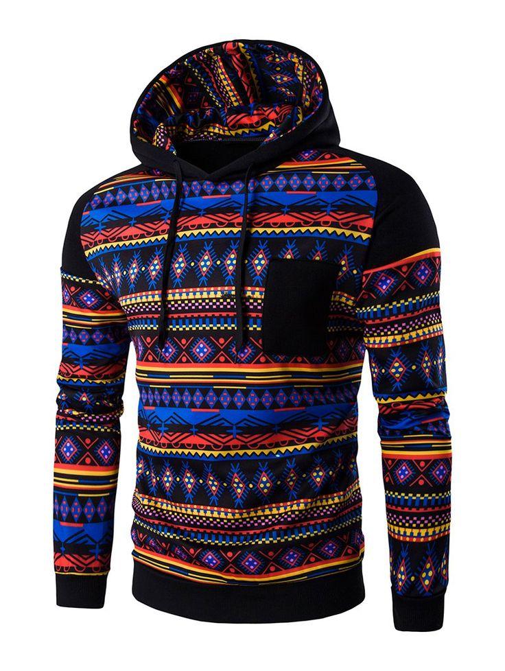 Ethnic Style Printed Hoodie
