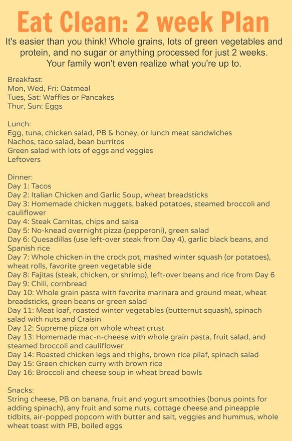 2 weeks worth of meal plans (breakfast, lunch, dinner, and snacks) with recipes and tips for eating more healthy. the meals are super family-friendly