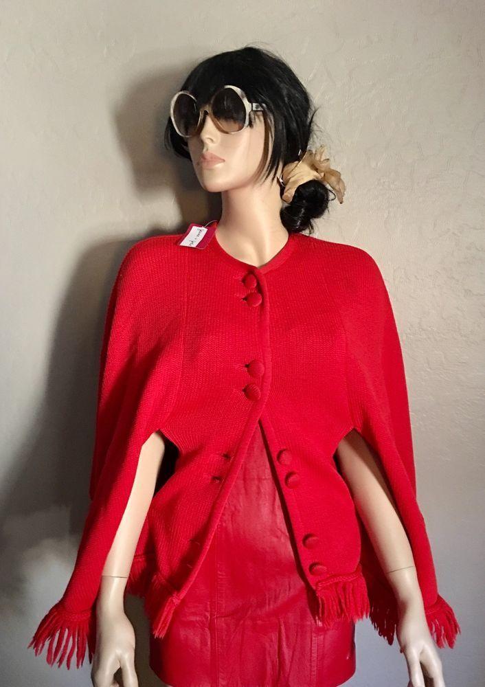 VTG Red Cape CoatW/ armholes Frayed Trim BOHO Hippie Cherry OS M/L Sweater #Unbranded #Cape