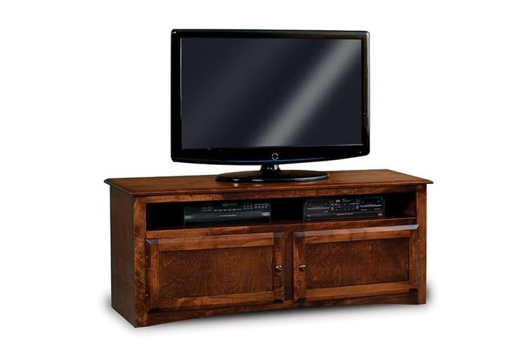 """Amish Durham Economy 60"""" TV Stand with Two Doors and Shelf Select wood or glass doors for this Amish made living room furniture."""