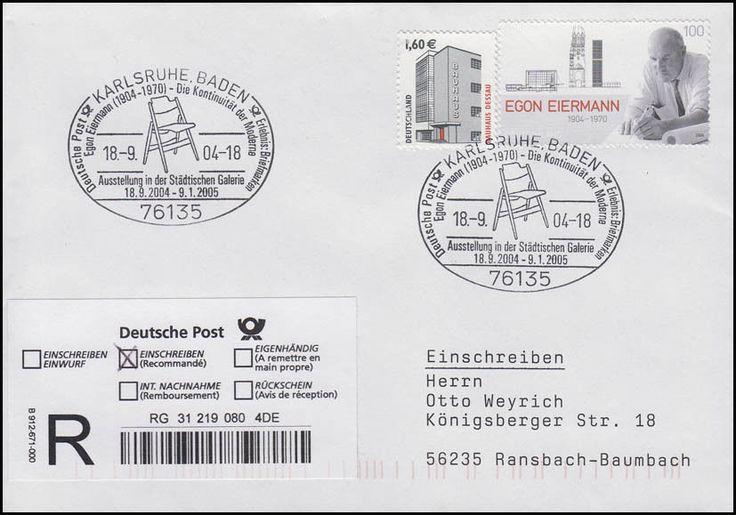 2421 Egon Eiermann Architekt, R-Brief SSt Karlsruhe Ausstellung Stuhl 18.9.2004 in Briefmarken, Diverse Philatelie, Briefe & Kartenposten | eBay